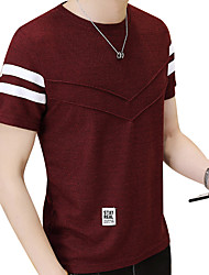 cheap -Men's Street chic Slim T-shirt - Solid Colored Round Neck