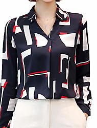 Недорогие -Жен. Офис Рубашка, V-образный вырез Рубашечный воротник Контрастных цветов