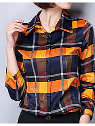 cheap -Women's Work Business Shirt - Plaid Shirt Collar