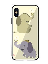 baratos -Capinha Para Apple iPhone X iPhone 8 Estampada Capa traseira Elefante Rígida Vidro Temperado para iPhone X iPhone 8 Plus iPhone 8 iPhone