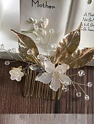 baratos -Liga Pentes de cabelo / Peça para Cabeça com Pedrarias / Cristais 1pç Casamento / Ocasião Especial Capacete