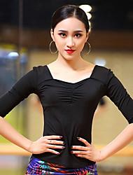 abordables -Baile Latino Tops Mujer Rendimiento Algodón Modal Fruncido Media Manga Top