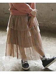 abordables -Robe Fille de Quotidien Vacances Couleur Pleine Coton Automne Sans Manches Mignon Noir Marron clair