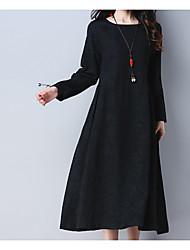 baratos -Mulheres Temática Asiática Evasê Vestido Sólido Médio