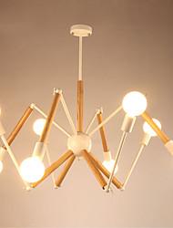 Недорогие -LightMyself™ 8-Light Подвесные лампы Рассеянное освещение Окрашенные отделки Металл Дерево / бамбук Черный и белый 110-120Вольт / 220-240Вольт Теплый белый / Белый Лампочки включены / E26 / E27
