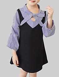abordables -Robe Fille de Quotidien Sortie Rayé Mosaïque Coton Polyester Printemps Automne Manches Longues Mignon Chic de Rue Noir