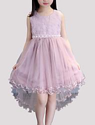 abordables -Robe Fille de Soirée Quotidien Mosaïque Rayonne Polyester Eté Sans Manches Mignon Blanc Rose Claire