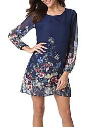 cheap -Women's Basic Chiffon Dress - Floral