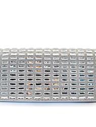 economico -Per donna Sacchetti vetro / Raso Pochette Dettagli con cristalli Argento