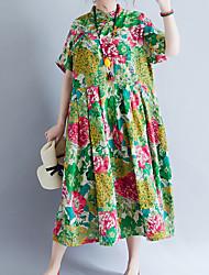 baratos -Mulheres Para Noite Temática Asiática Solto Solto Vestido Floral Gola Redonda Médio