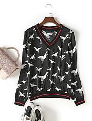 baratos -Mulheres Camiseta Moda de Rua Estampado,Geométrica Animal