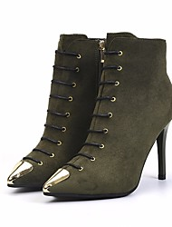 cheap -Women's Shoes Nubuck leather Fall Winter Bootie Comfort Boots Stiletto Heel Booties / Ankle Boots for Black Army Green Red