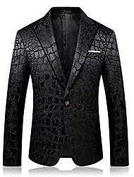 cheap -Men's Chinoiserie Business Casual Blazer-Plaid,Jacquard Peaked Lapel