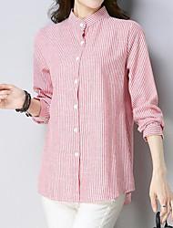 baratos -Mulheres Camisa Social - Para Noite Moda de Rua Listrado Colarinho Chinês