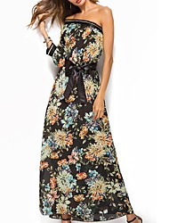 cheap -Women's Boho Loose Chiffon Dress - Solid Colored Floral, Lace Backless High Waist Off Shoulder
