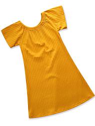 abordables -Robe Fille de Soirée Quotidien Couleur Pleine Coton Polyester Eté Manches Courtes Mignon Bohème Jaune