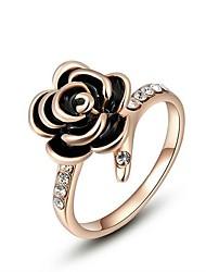 preiswerte -Damen Böhmische Kubikzirkonia vergoldet Blume Bandring - Böhmische / Elegant Schwarz Ring Für Party / Geburtstag