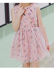 cheap -Girl's Daily Holiday Floral Dress, Polyester Spring Summer Sleeveless Cute Boho Blushing Pink