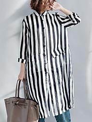 cheap -Women's Basic Puff Sleeve Shirt - Striped, Print Shirt Collar