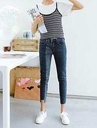cheap -Women's Cotton Jeans Pants - Solid Colored Low Rise