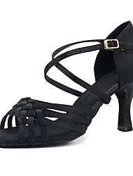 cheap -Women's Latin Shoes Satin Sandal / Heel Splicing Customized Heel Customizable Dance Shoes Black / Indoor