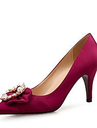 Недорогие -Жен. Обувь на каблуках На шпильке Заостренный носок Стразы / Бусины Лак / Шёлк Удобная обувь Осень Оранжевый / Светло-лиловый / Винный / 2-3 / Для вечеринки / ужина