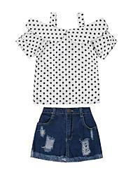 Недорогие -Девочки Набор одежды Повседневные На выход Искусственный шёлк Горошек Лето С короткими рукавами На каждый день Уличный стиль Белый