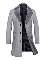 cheap -men's daily sports & outdoors spring fall long trench coat, solid shirt collar cotton