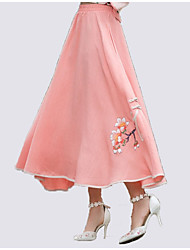 cheap -Women's Holiday / Going out Chinoiserie Plus Size Cotton A Line Skirts - Floral Print High Waist