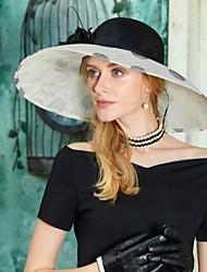 economico -Lino fascinators cappelli with Piume Fantasia floreale 1pc Matrimonio Party /serata Copricapo