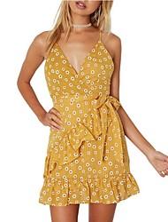 cheap -Women's Beach Street chic Slim Sheath Dress - Floral, Ruffle Strap