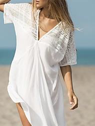 cheap -Women's Plunging Neckline Cover-Up - Solid Colored Lace