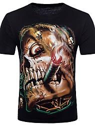 baratos -Homens Camiseta-Bandagem Punk & Góticas Moda de Rua Algodão Decote Redondo