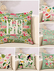 cheap -6 pcs Cotton/Linen Pillow Case Novelty Pillow Pillow Cover, Floral Flamingo Cartoon Cartoon Tropical