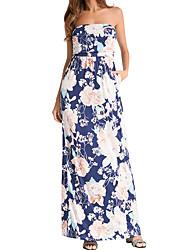 cheap -Women's Boho Cotton Slim Swing Dress - Floral Blue, Print High Waist Maxi Strapless