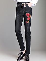 baratos -Mulheres Algodão Solto Jeans Calças - Sólido Bordado