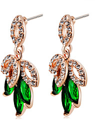 cheap -Women's Crystal / Cubic Zirconia Crystal / Zircon / Gold Plated Drop Earrings - Classic / Elegant / Fashion Green Four Leaf Clover