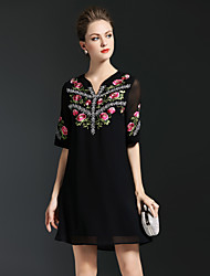 cheap -8CFAMILY Women's Cute Boho A Line Loose Dress - Floral, Embroidered