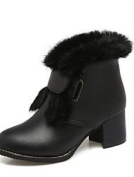 preiswerte -Damen Schuhe PU Winter Schneestiefel Stiefel Blockabsatz Runde Zehe Booties / Stiefeletten Schwarz / Gelb / Grün