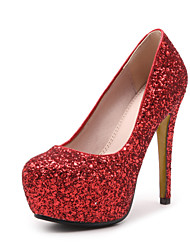 preiswerte -Damen Schuhe Paillette Frühling Sommer Pumps High Heels Stöckelabsatz Runde Zehe Paillette für Hochzeit Party & Festivität Weiß Schwarz