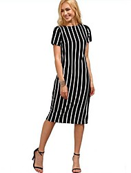 Dame Bodycon Kjole - Stribet, Basale