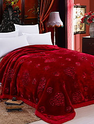 Недорогие -Плюш, Жаккардовое переплетение Цветочный принт Полиэфир / полиамид одеяла