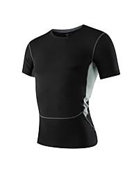 abordables -Homme Tee-shirt de Course Manches Courtes Respirabilité Tee-shirt pour Exercice & Fitness Polyester Bleu / Rouge / Blanc / Gris XL / XXL