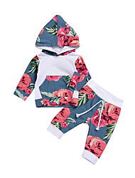 cheap -Baby Unisex Daily Floral Clothing Set, Cotton Spring Summer Cute Active Long Sleeves Light Blue