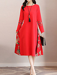 cheap -Women's A Line Loose Swing Dress - Floral, Print