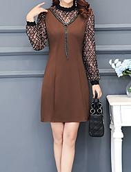 cheap -Women's Work Sheath Dress - Color Block, Cut Out