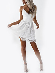 cheap -Women's Club Holiday Basic Slim A Line Dress - Solid Colored White, Lace High Waist Mini V Neck Strap