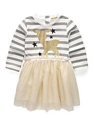 abordables -Robe Fille de Sortie Ecole Rayé Coton Acrylique Polyester Printemps Eté Manches Longues simple Mignon Blanc