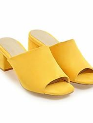 Недорогие -Жен. Обувь Нубук Весна Лето Удобная обувь Сандалии На толстом каблуке для Черный Желтый Красный