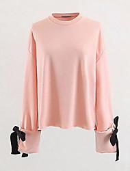 abordables -sweatshirt en coton à manches longues pour femmes - col rond uni